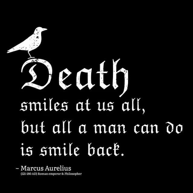 Death smiles at us all, but all a man can do is smile back. Marcus Aurelius