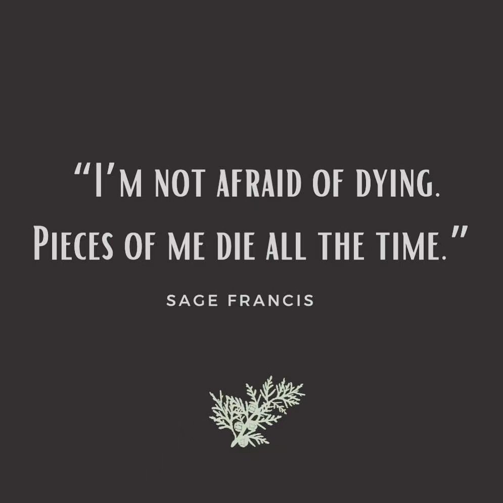 I'M NOT AFRAID OF DYING. PIECES OF ME DIE ALL THE TIME. SAGE FRANCIS